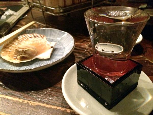 日本酒とホタテ