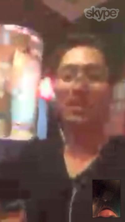 バンコクからメンバー大崎も乾杯!(Skypeで)