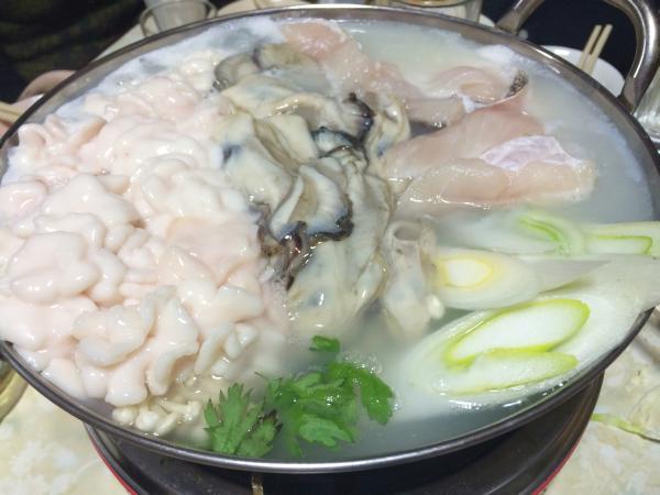 冬の味。牡蠣/鱈/白子ちり鍋。