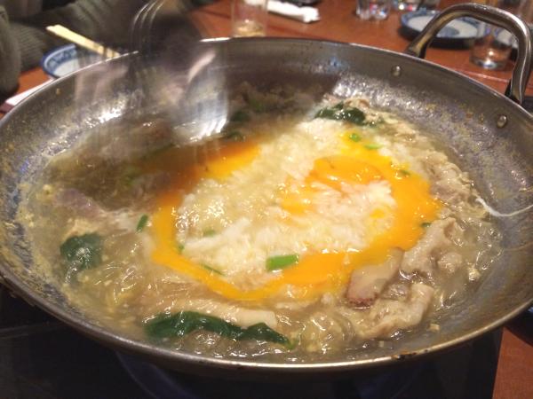 ジャスミンライスと溶き卵でさっと煮て完成。