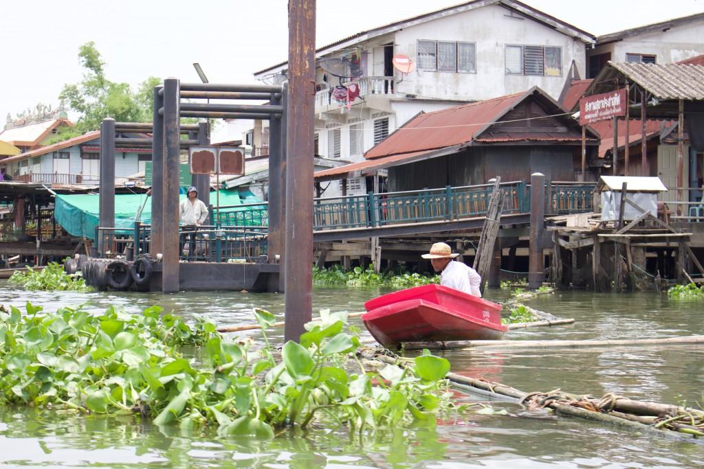 近くでは川仕事をしているおじいさんが。のどか