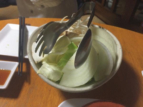 義経鍋の野菜。