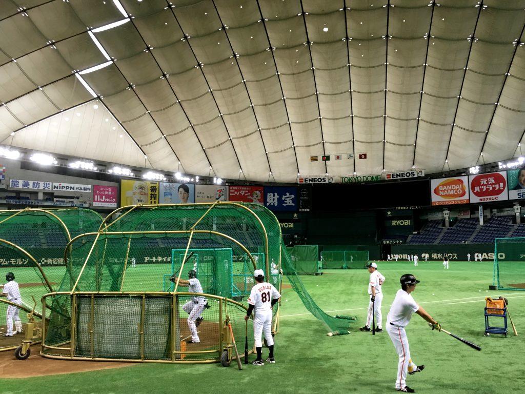 ついに練習中のフィールドへ。バッティング練習の乾いた打球音が絶え間なく響く。