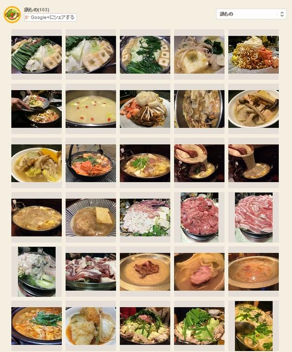 これまで投稿してきた鍋の写真は103(2015年4月6日現在)。