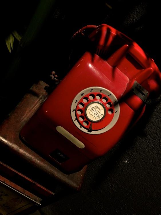 昭和生まれには懐かしい赤電話も