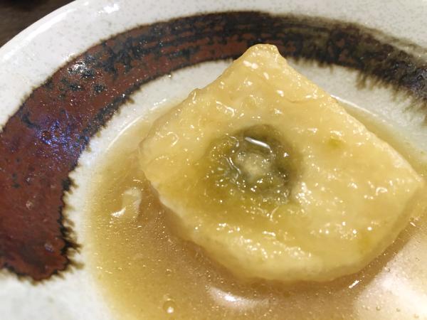 柚子胡椒入り揚げ豆腐。 一度食べたらやみつき。