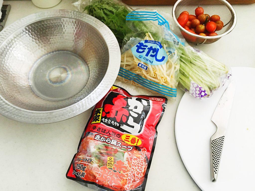 スーパーで買った赤から鍋スープの素を使う